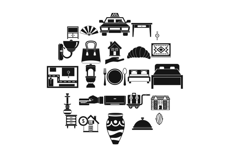 tourist-house-icons-set-simple-style
