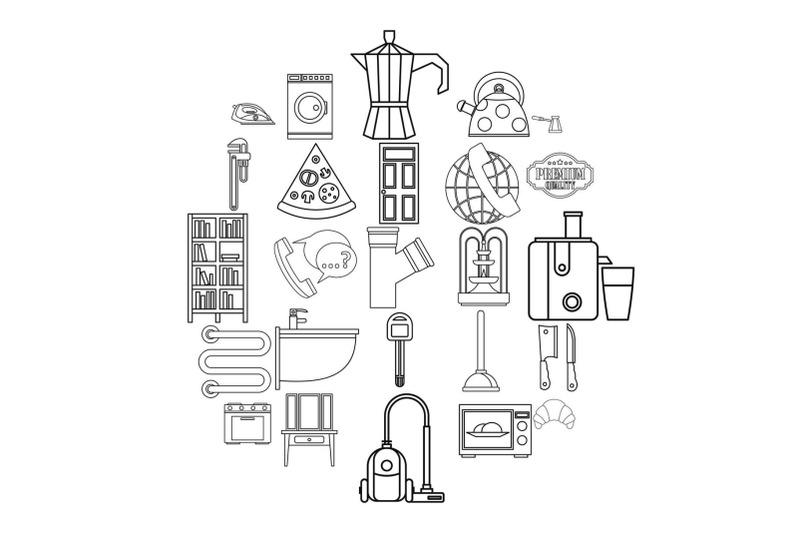 rooming-house-icons-set-outline-style