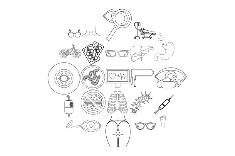 cure-oneself-icons-set-outline-style