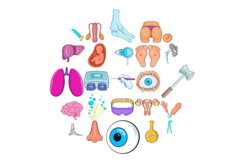 gynecologist-icons-set-cartoon-style