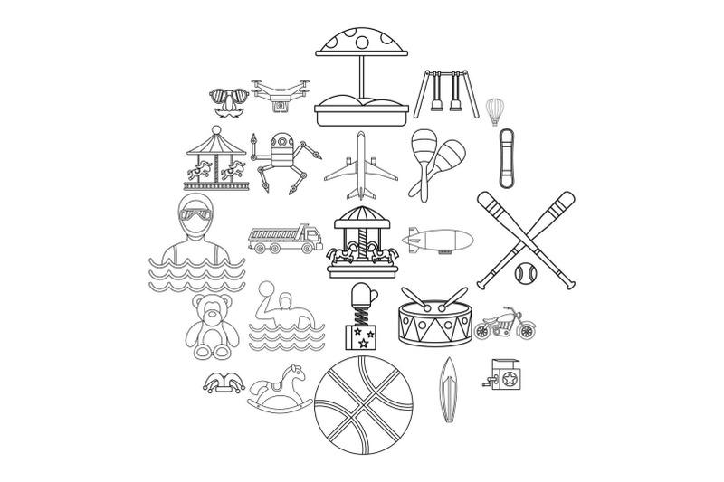 school-adventures-icons-set-outline-style
