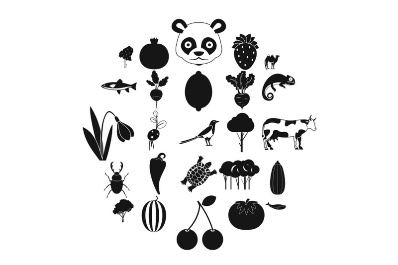 tropical-food-icons-set-simple-style