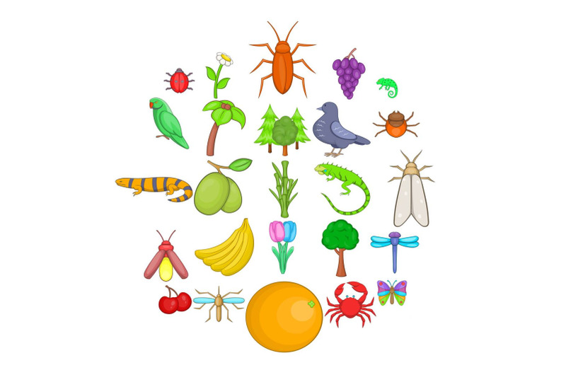 vegetable-kingdom-icons-set-cartoon-style