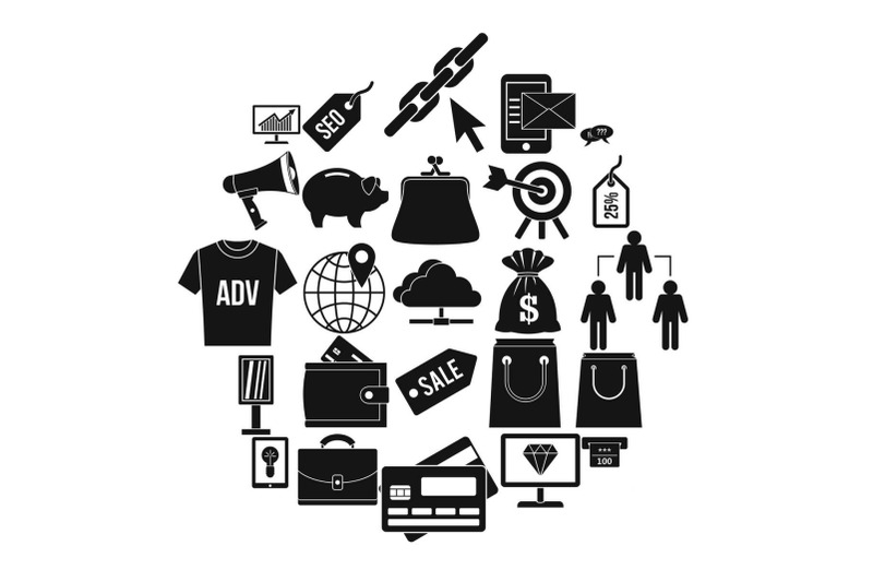 commercially-profitable-icons-set-simple-style