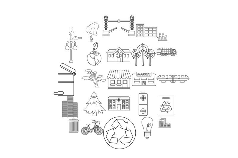 clean-city-icons-set-outline-style