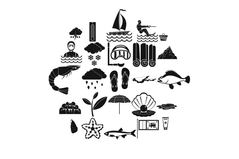 diving-icons-set-simple-style