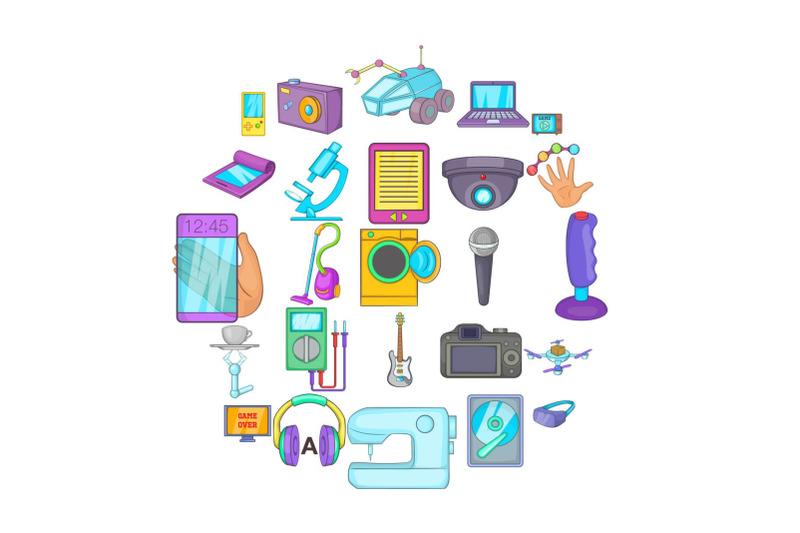 electronic-device-icons-set-cartoon-style
