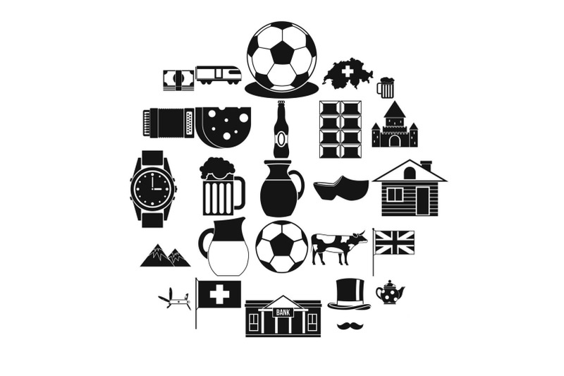 switzerland-icons-set-simple-style