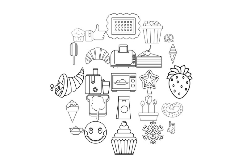 candy-shop-icons-set-outline-style