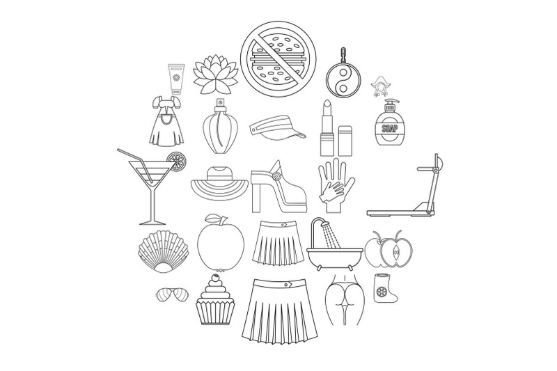 petticoat-icons-set-outline-style