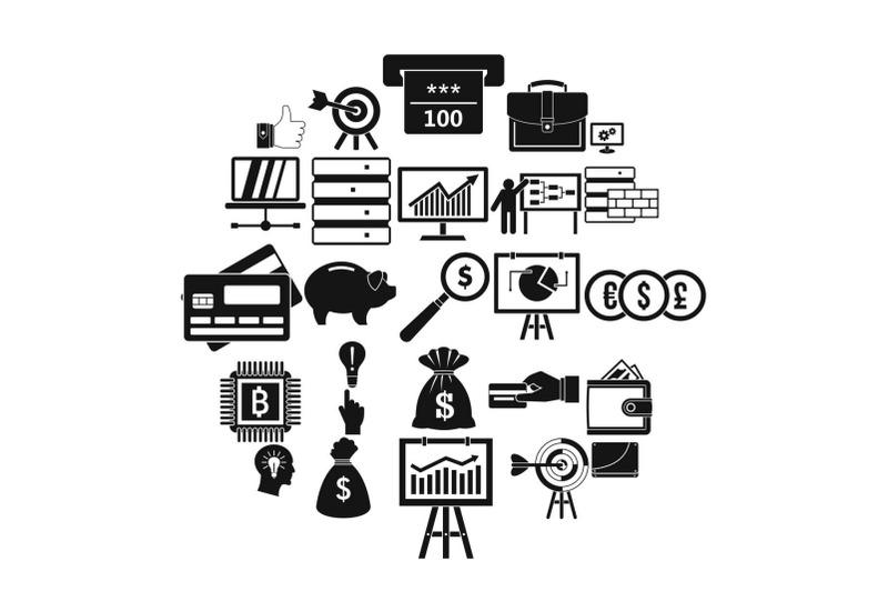 stockbroker-icons-set-simple-style
