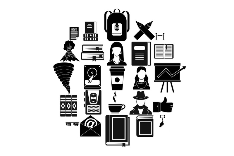 writer-icons-set-simple-style