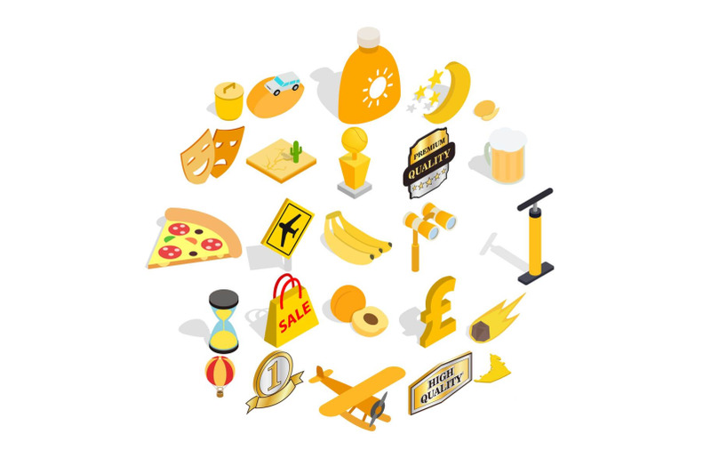 cultural-rest-icons-set-isometric-style