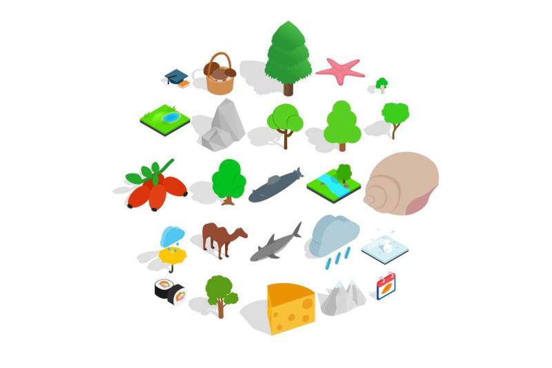 animal-planet-icons-set-isometric-style