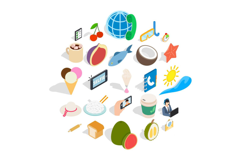 luncheon-icons-set-isometric-style
