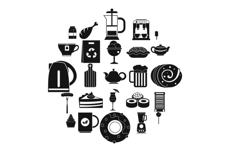 canteen-icons-set-simple-style