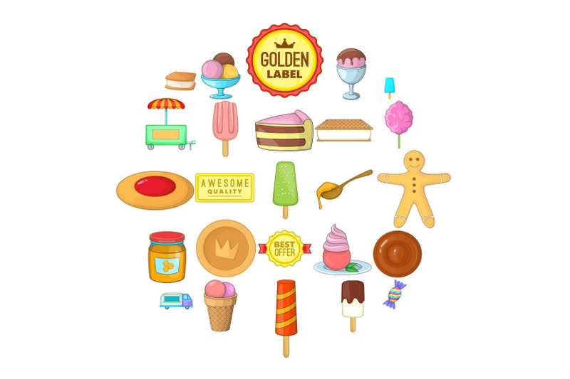 sweet-icons-set-cartoon-style