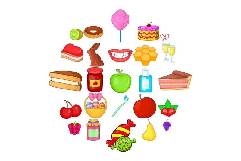 dessert-icons-set-cartoon-style