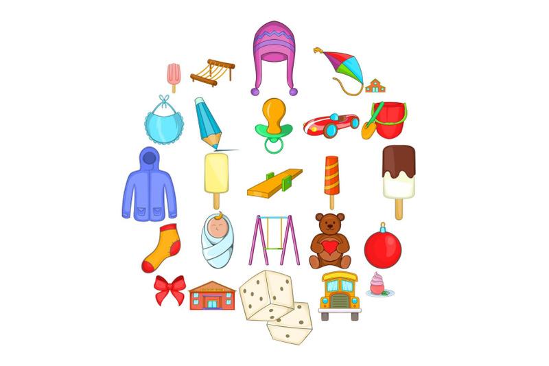 small-children-icons-set-cartoon-style