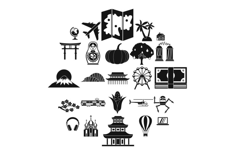 travel-by-plane-icons-set-simple-style