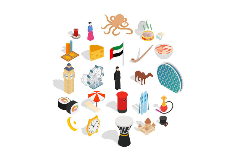 world-food-icons-set-isometric-style