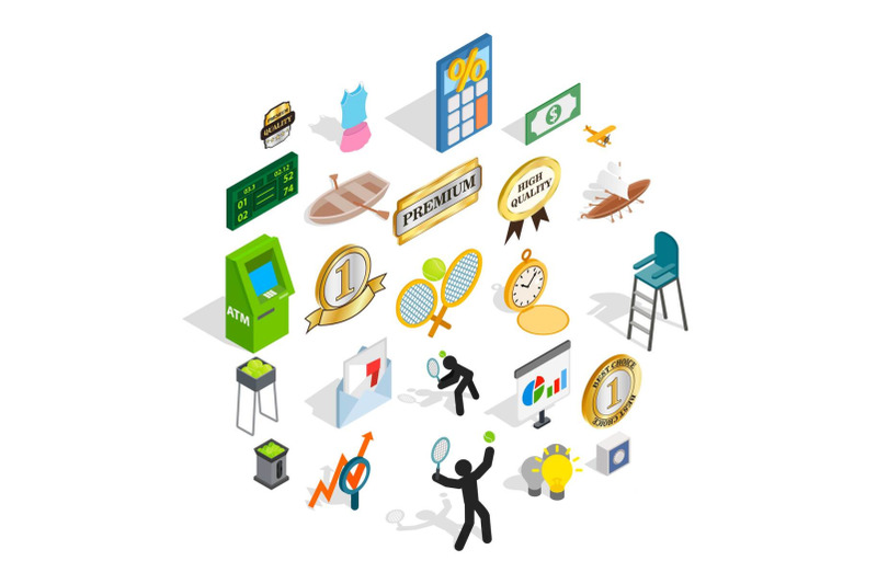 win-at-competition-icons-set-isometric-style