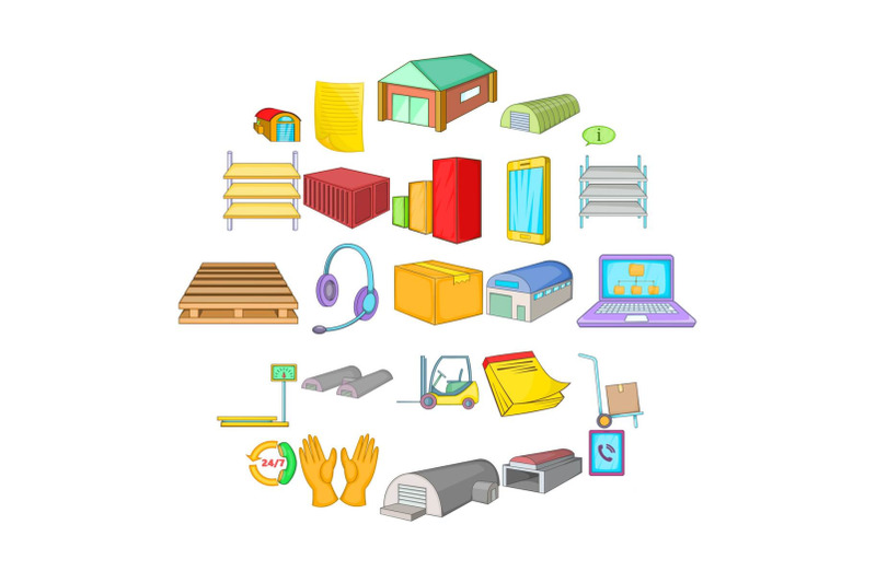 storage-of-goods-icons-set-cartoon-style