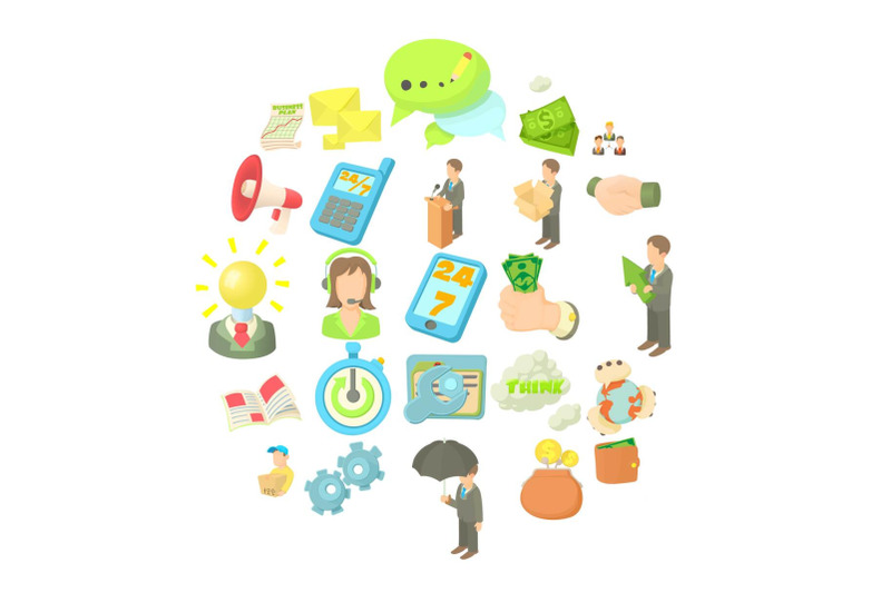bank-officer-icons-set-cartoon-style