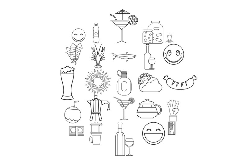 beer-belly-icons-set-outline-style
