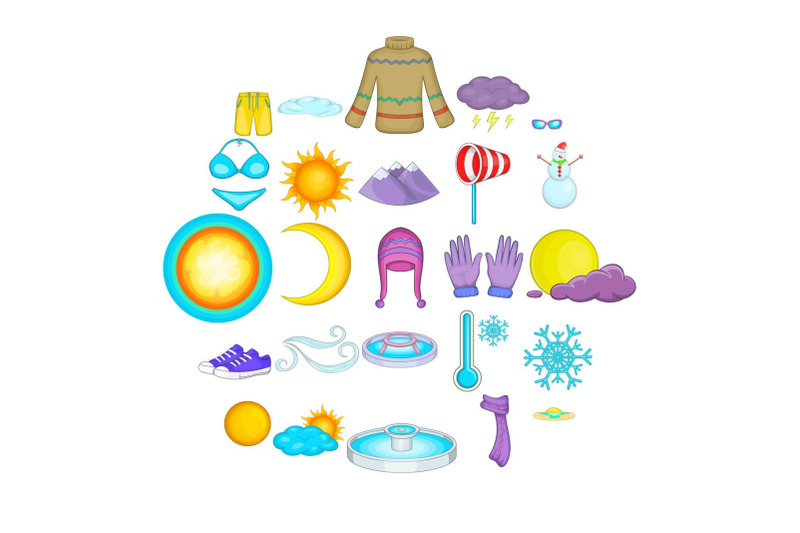 mountain-climate-icons-set-cartoon-style