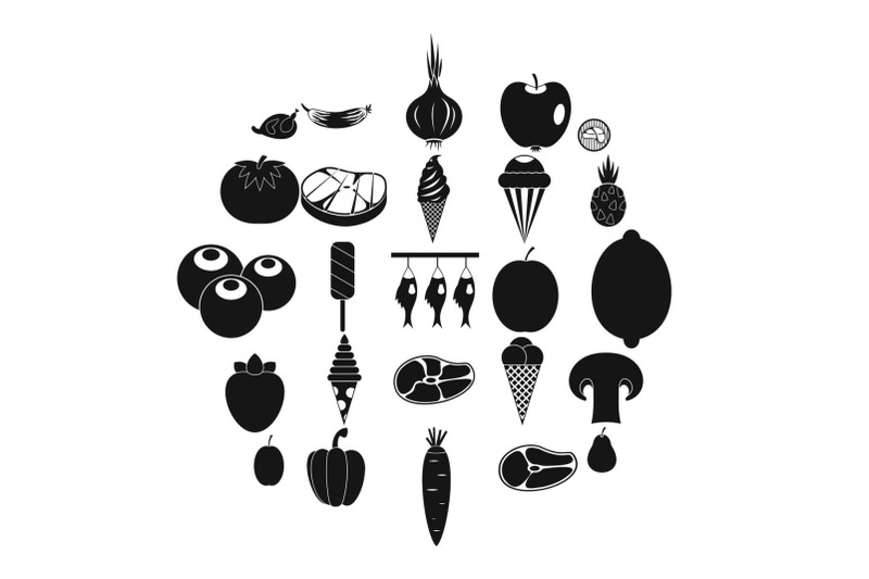 street-shop-icons-set-simple-style