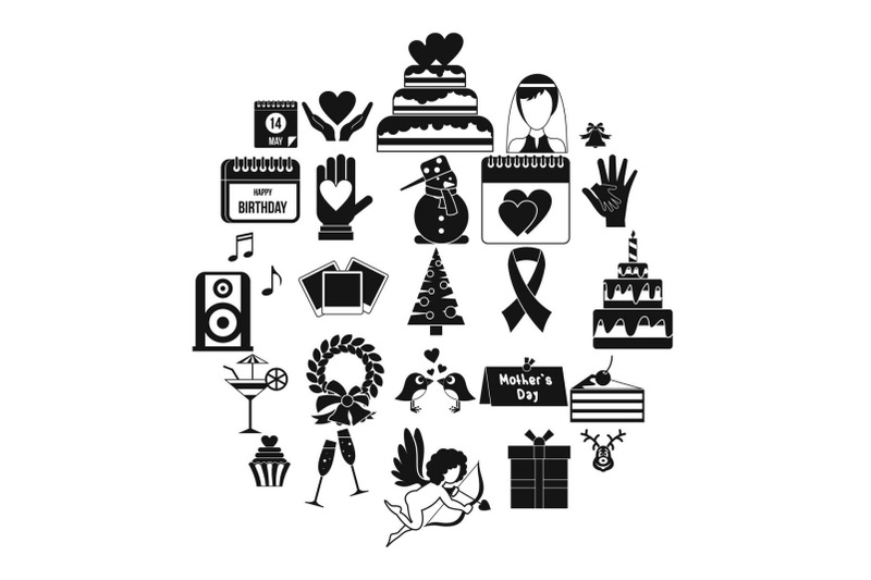 present-icons-set-simple-style