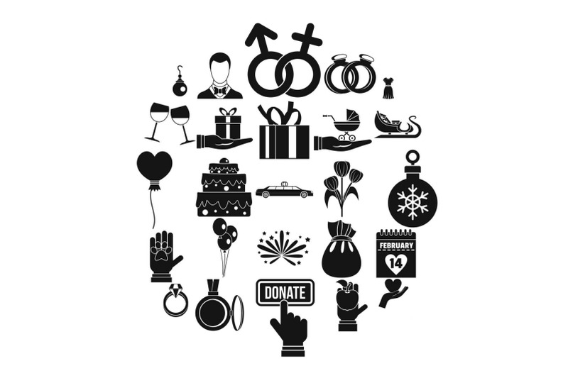 gift-icons-set-simple-style