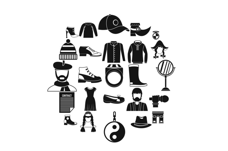 hairdresser-icons-set-simple-style