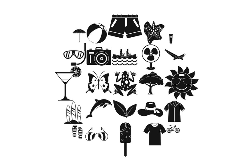 summer-icons-set-simple-style