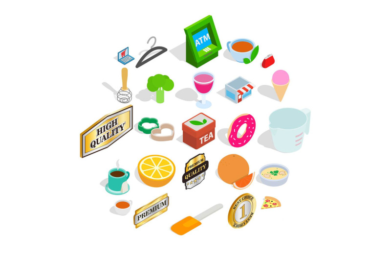 meal-icons-set-isometric-style