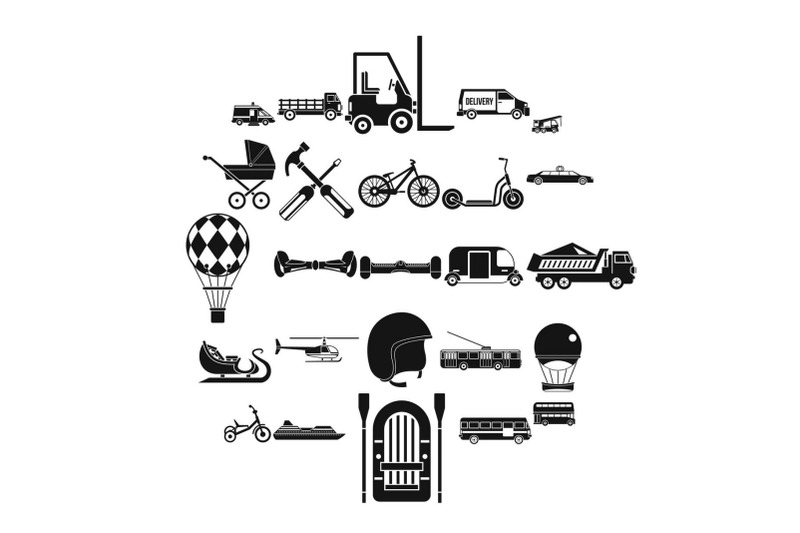 drive-icons-set-simple-style