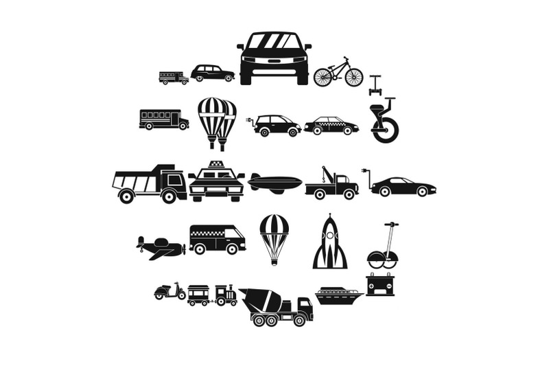 two-wheeler-icons-set-simple-style