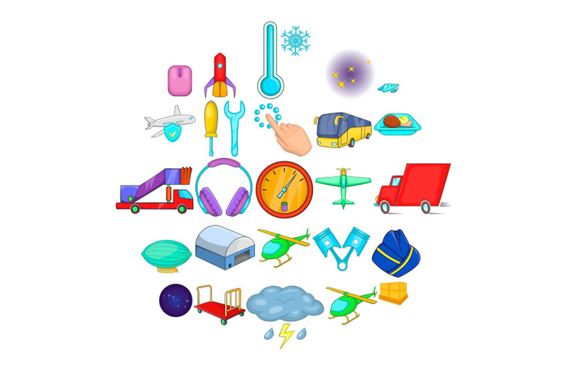 air-adventure-icons-set-cartoon-style