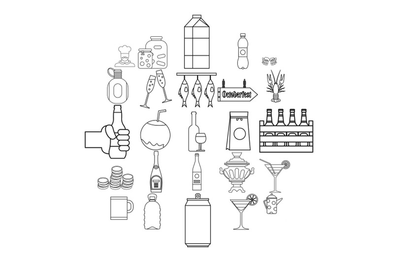 alcohol-icons-set-outline-style