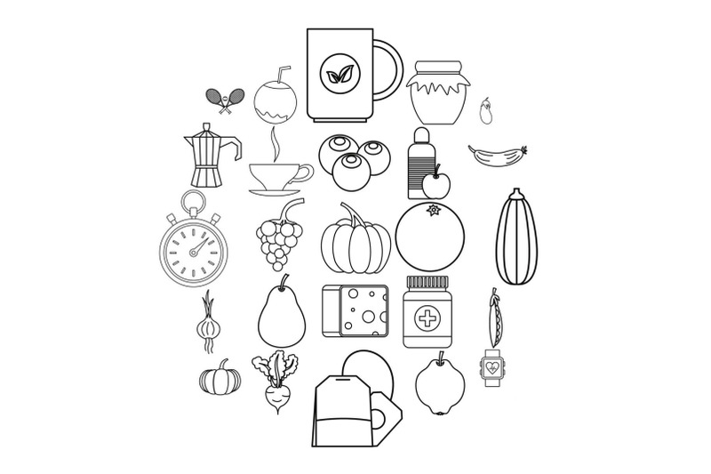 allowance-icons-set-outline-style
