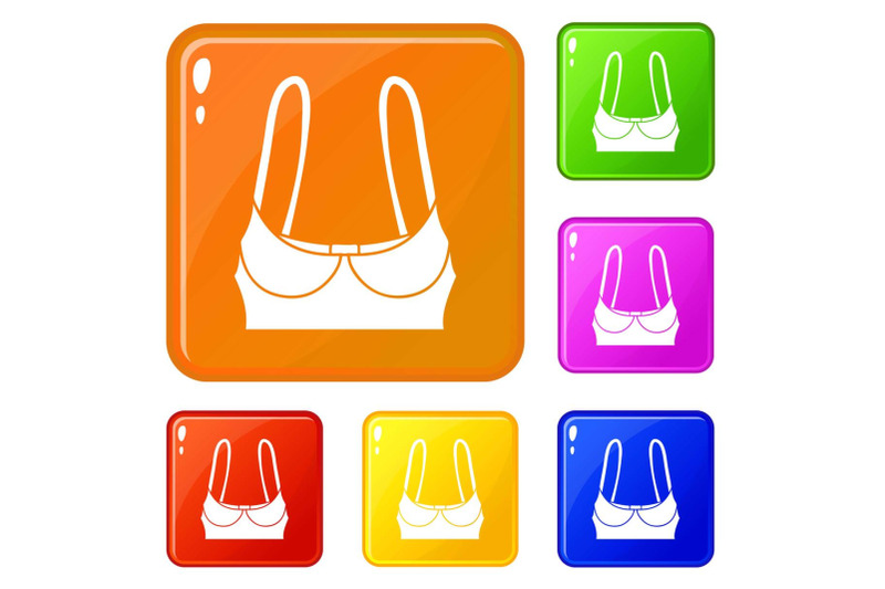sports-bra-icons-set-vector-color