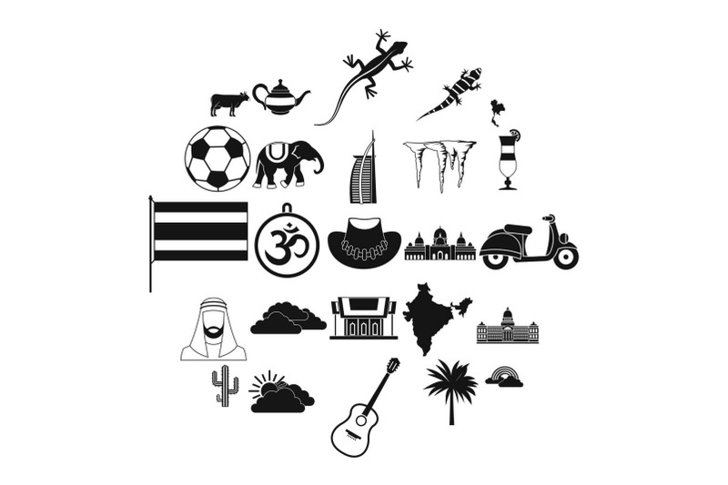 exotic-animal-icons-set-simple-style