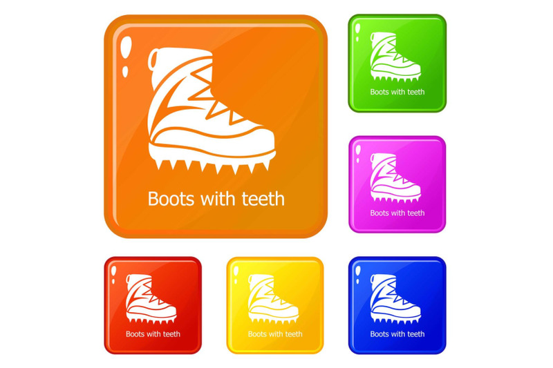 mountaineer-shoes-icons-set-vector-color