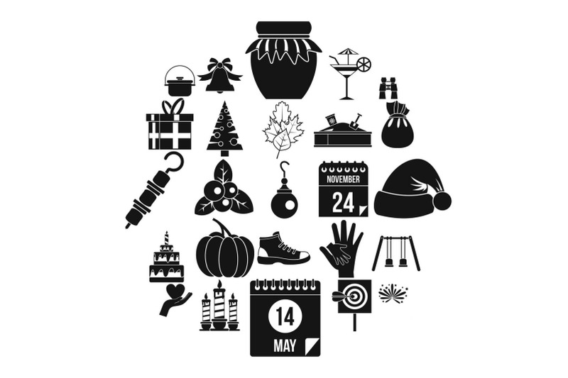 family-tradition-icons-set-simple-style