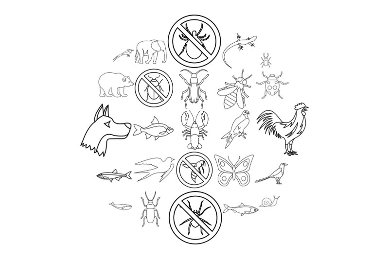faunal-icons-set-outline-style