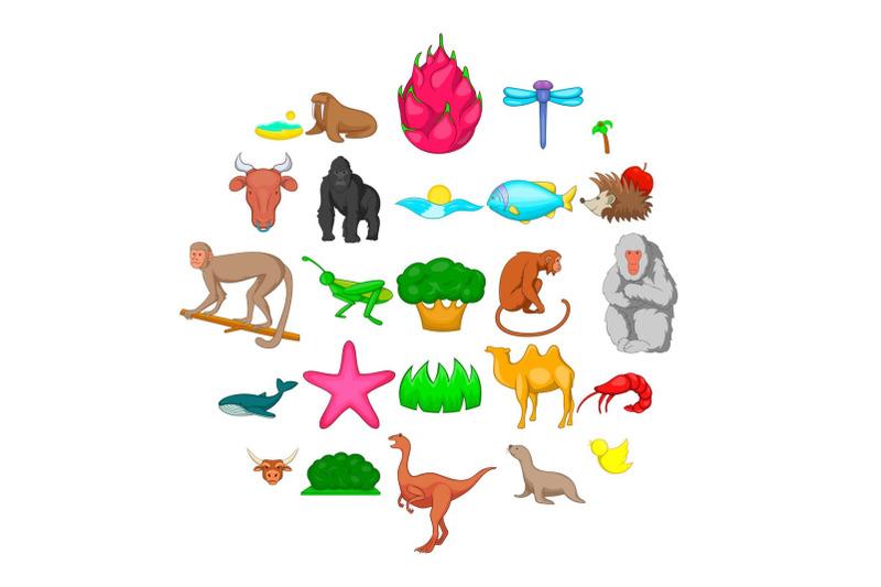 herbivore-icons-set-cartoon-style