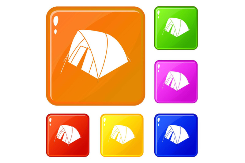 mountain-tent-icons-set-vector-color
