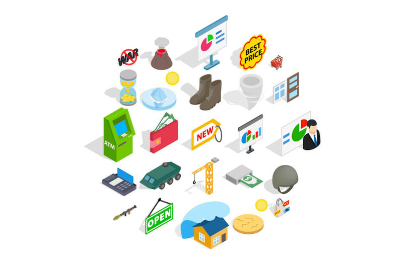 positive-feedback-icons-set-isometric-style