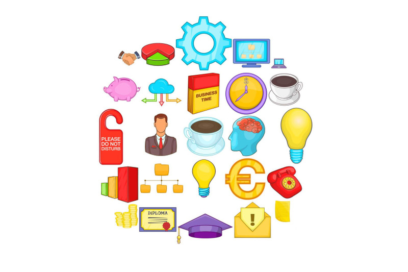 accounting-icons-set-cartoon-style